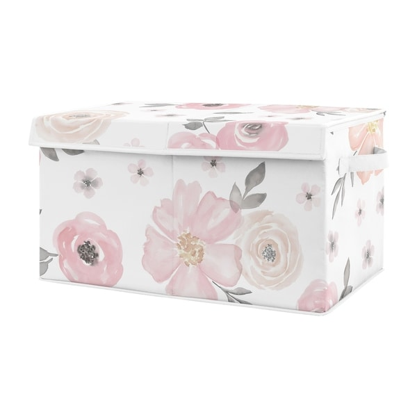 Sweet Jojo Designs Pink and Grey Rose Flower Watercolor Floral Collection Girl Kids Fabric Toy Bin Storage