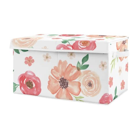 Sweet Jojo Designs Peach and Green Rose Flower Watercolor Floral Collection Girl Kids Fabric Toy Bin Storage