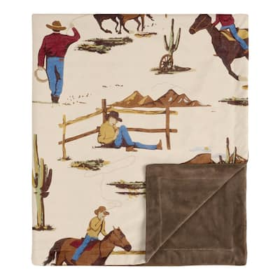 Sweet Jojo Designs Cowboy Wild West Collection Boy Baby Receiving Security Swaddle Blanket - Tan and Red