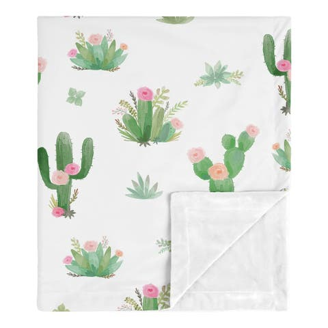 Sweet Jojo Designs Boho Watercolor Cactus Floral Collection Girl Baby Receiving Security Swaddle Blanket - Pink and Green