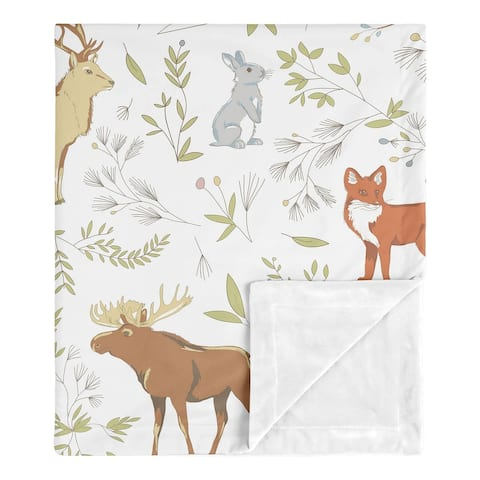Sweet Jojo Designs Bear Deer Fox Woodland Animal Toile Boy Girl Baby Receiving Security Swaddle Blanket - Grey Green Brown