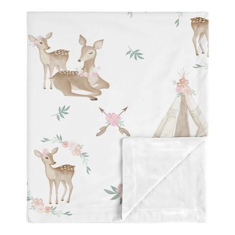 Sweet Jojo Designs Boho Watercolor Woodland Deer Floral Baby Receiving Security Swaddle Blanket - Blush Pink Mint Green White