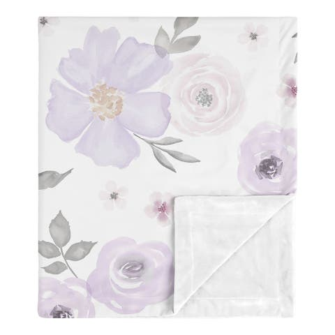Sweet Jojo Designs Shabby Chic Watercolor Floral Collection Baby Receiving Security Swaddle Blanket - Lavender Purple Pink Grey