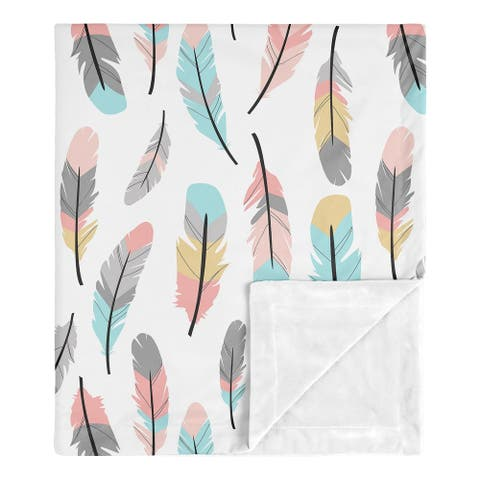 Sweet Jojo Designs Boho Feather Collection Girl Baby Receiving Security Swaddle Blanket - Turquoise, Coral and Grey