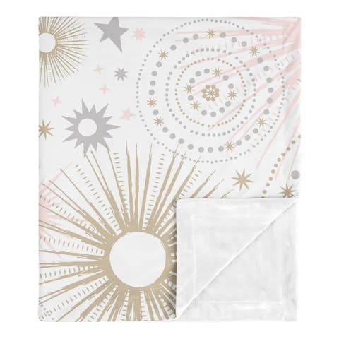 Sweet Jojo Designs Star and Moon Celestial Collection Girl Baby Receiving Security Swaddle Blanket - Blush Pink, Gold, and Grey
