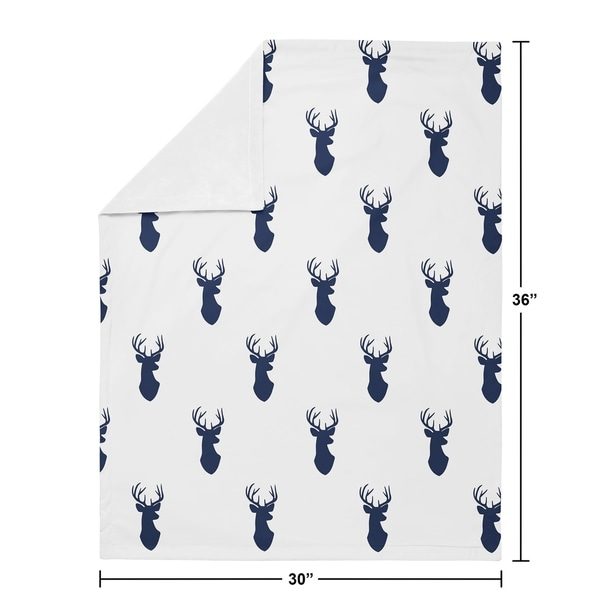 Sweet Jojo Designs Stag Woodland Deer Collection Boy Baby Receiving Security Swaddle Blanket - Navy Blue and White
