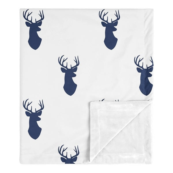Sweet Jojo Designs Stag Woodland Deer Collection Boy Baby Receiving Security Swaddle Blanket - Navy Blue and White. Opens flyout.