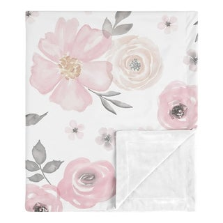 Sweet Jojo Designs Shabby Chic Watercolor Floral Collection Girl Baby Receiving Security Swaddle Blanket - Blush Pink Grey White