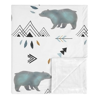 Sweet Jojo Designs Bear Mountain Watercolor Collection Boy Baby Receiving Security Swaddle Blanket - Slate Blue, Black and White