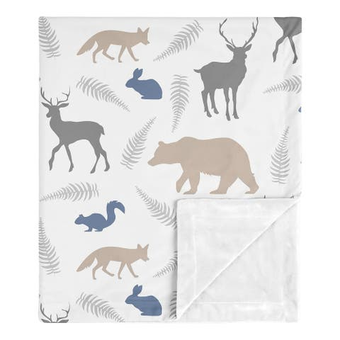 Sweet Jojo Designs Bear Gray Deer Fox Woodland Animals Collection Boy Baby Receiving Security Swaddle Blanket - Beige Blue Grey