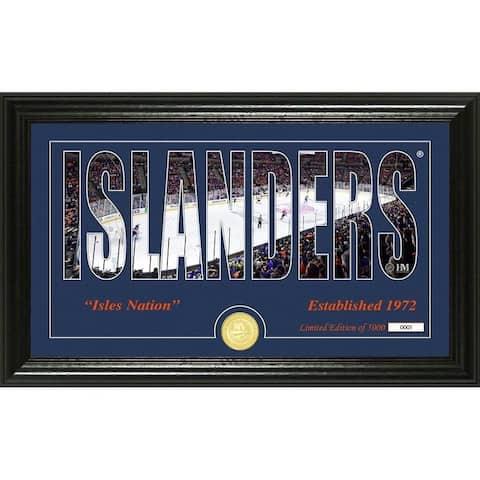 New York Islanders Silhouette Panoramic Bronze Coin Photo Mint