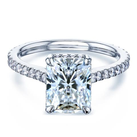Annello by Kobelli 14k Gold 3 1/8ct TCW Radiant Moissante and Diamond Drop Halo Comfort Fit Engagement Ring (HI/VS, GH/I)..