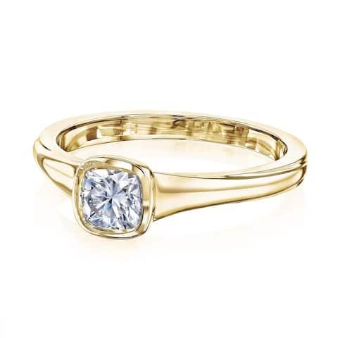 Annello by Kobelli 14k Gold 0.5 Carat Cushion Moissanite Bezel Solitaire Engagement Ring (GH/VS)