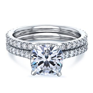 Link to Annello by Kobelli 14k Gold 2 4/5ct TGW Cushion Forever One Moissanite and Diamond Drop Halo Comfort Fit Bridal Set. Similar Items in Rings