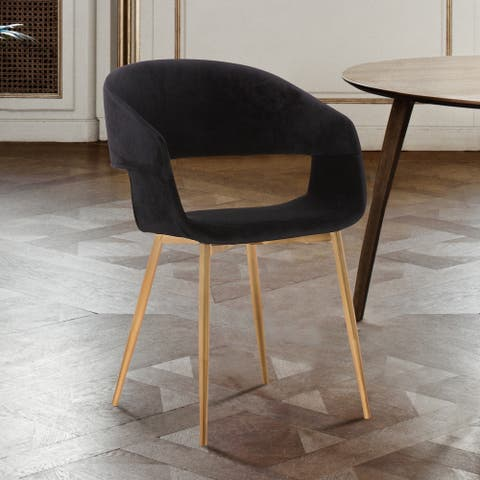 Jocelyn Mid-Century Dining Accent Chair with Metal Legs