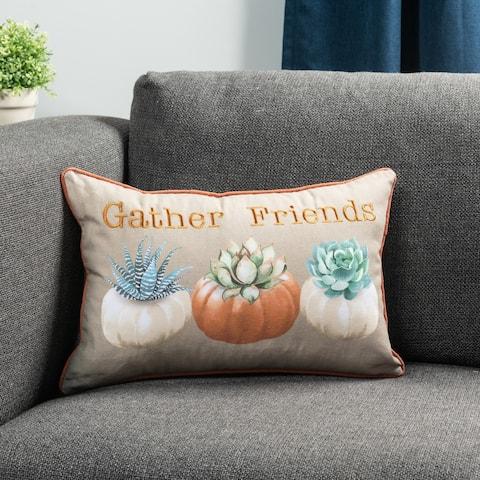 "Pumpkin Succulents 14"" x 20"" Decorative Throw Pillow"