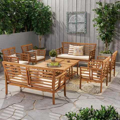 Caydon Outdoor Modern Acacia Wood 8 Seater Chat Set with Cushions by Christopher Knight Home
