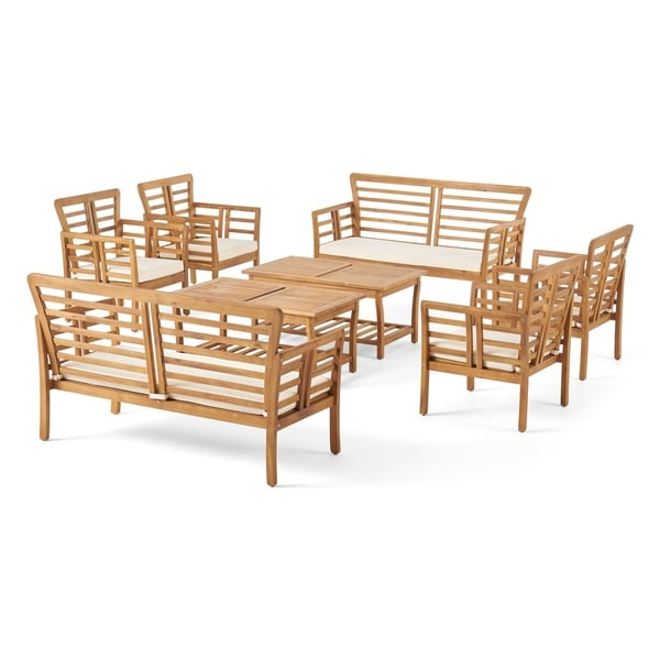 Caydon Outdoor Modern Acacia Wood 8 Seater Chat Set with Cushions by Christopher Knight Home. Opens flyout.