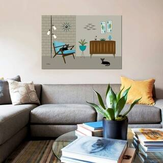 """iCanvas """"Mid Century Z Chair on Gray"""" by Donna Mibus Gallery-Wrapped Canvas Print"""