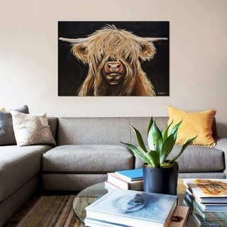 """Link to iCanvas """"Highland Cow On Black"""" by Hippie Hound Studios Gallery-Wrapped Canvas Print Similar Items in Canvas Art"""