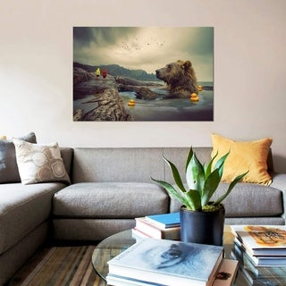 """Link to iCanvas """"Foggy Bear Bath"""" by Soaring Anchor Designs Gallery-Wrapped Canvas Print Similar Items in Canvas Art"""
