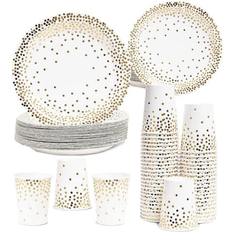Disposable Paper Party Plates and Cups Set for 50 Guests Wedding, Gold Foil Dots