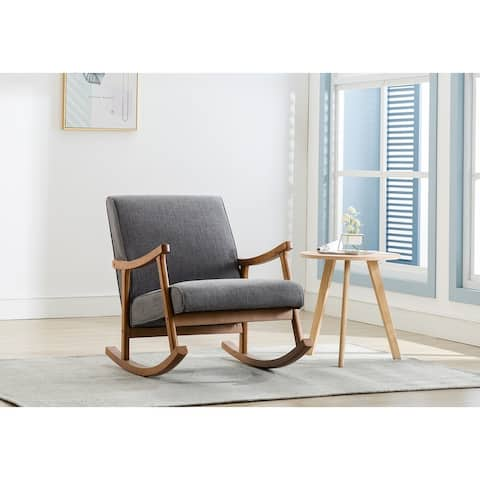 Porthos Home Hayes Rocking Accent Chair, Hemp Upholstery, Wooden Legs