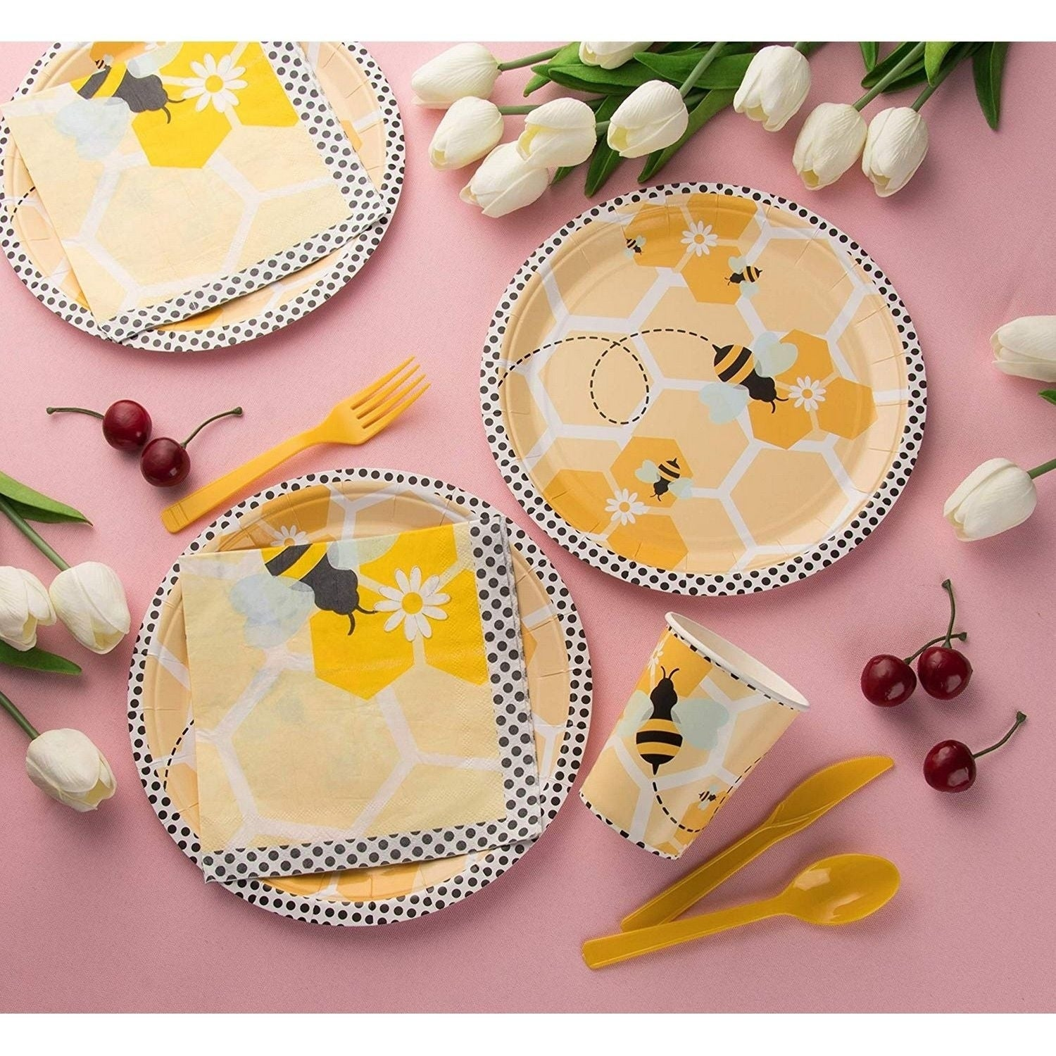 24 Set Dinnerware for Birthday Party Baby Shower Kids Themed Bumblebee Cute Bee
