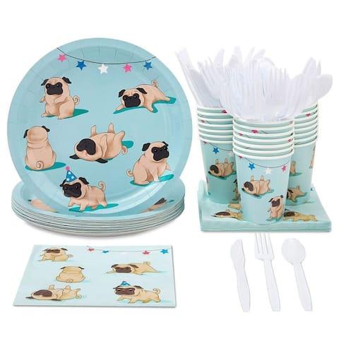 24 Set Disposable Party Dinnerware for Kids Birthdays Cute Dog Pugs Design