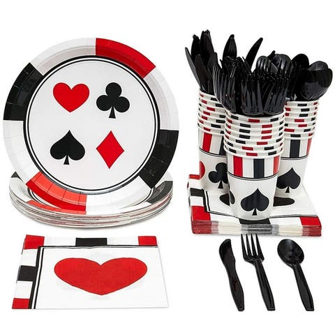 Casino Party Supplies - Serves 24 - Plates, Knives, Spoons, Forks, Cups Napkins