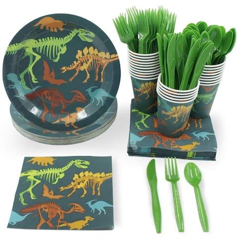 24 Disposable Dinnerware Dinosaur for Kids Birthday Party Dino Fossil Skeleton