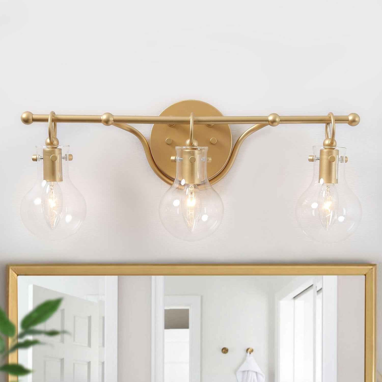 Image of: Shop Black Friday Deals On Modern 3 Light Wall Bathroom Vanity Lighting Sconce For Powder Room L20 X H8 5 X E6 Overstock 30099119