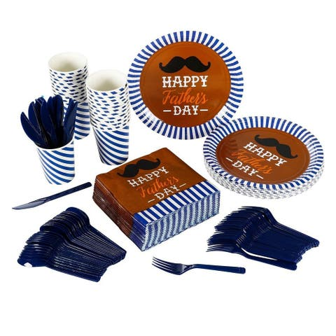 24 Set Dinnerware Happy Father's Day Party Supply for Dad Father Themed Parties