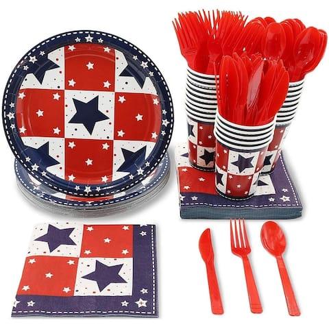 24 Set Dinnerware Tableware for Patriotic Party America Themed Parties.