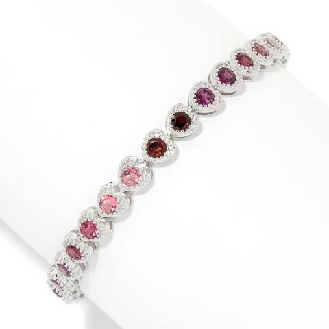 925 Sterling Silver Pink Tourmaline,Red Garnet Bracelet