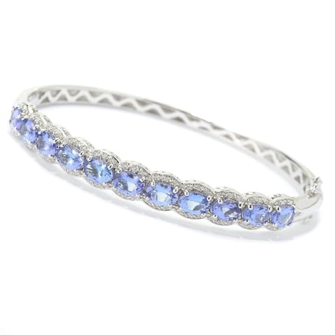 Sterling Silver 8.7Ctw Tanzanite & White Zircon Bangle
