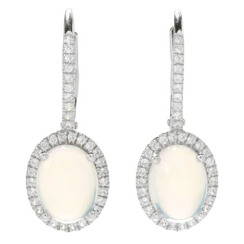Sterling SIlver 925 Ethiopian Opal,White Natural Zircon Drop & Dengle Earring