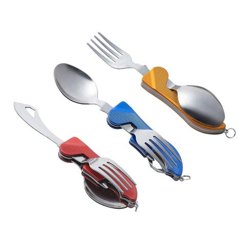 4-in-1 Camping Utensils - 3-Pack Camp Utensils Set, Stainless Steel Folding