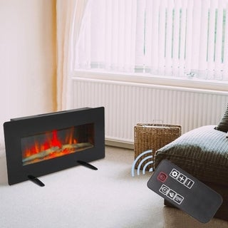 "36"" Electric Fireplace 2 in 1 Logs Wall Mounted or Freestanding Adjustable Heater with Remote Control & Timer Flat Panel"