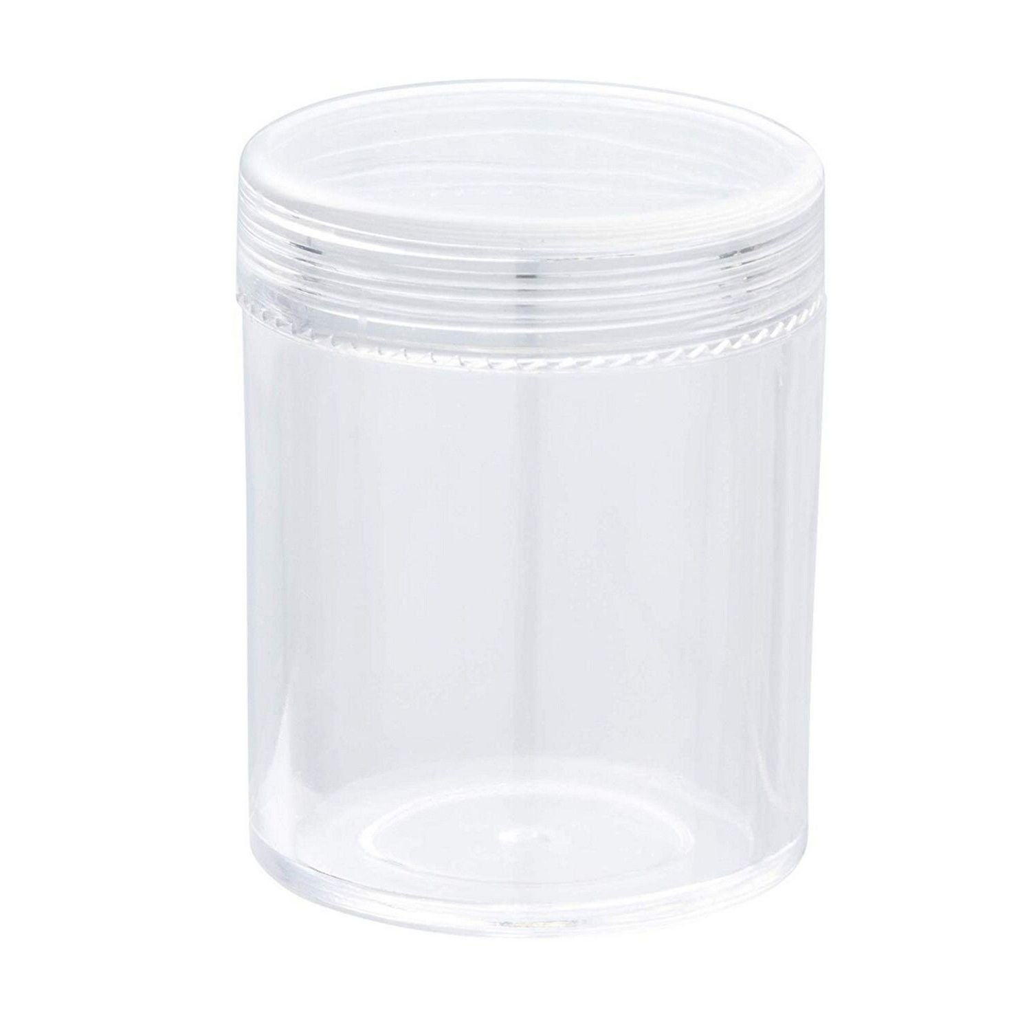 Spice Containers Jars Clear Plastic w// Screw Top Lids White Crafts Lot of 9