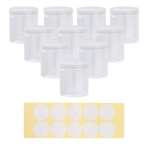 10 Plastic Storage Jars w/ Screw-on Lids 10 Labels, Refillable Container, 8 OZ