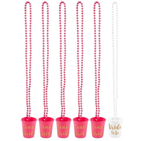"""6-Pack Team Bride Bride To Be Plastic Beaded Shot Glasses Necklaces 30.4"""" Long"""
