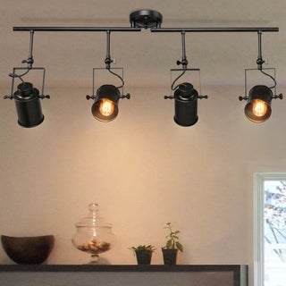"Link to Rustic Spotlight  4-lights Tracking Lights Black Ceiling Lighting - W 36.4"" x E4.7"" x H15"" Similar Items in Track Lighting"