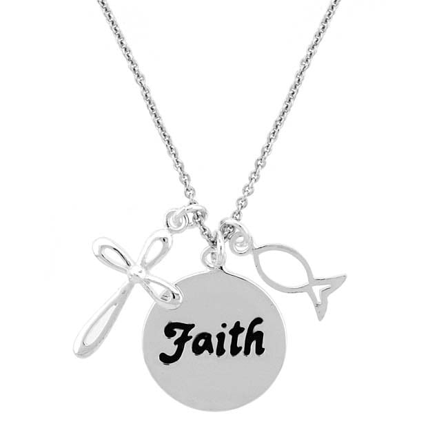Mondevio Sterling Silver Faith Cross and Fish Necklace