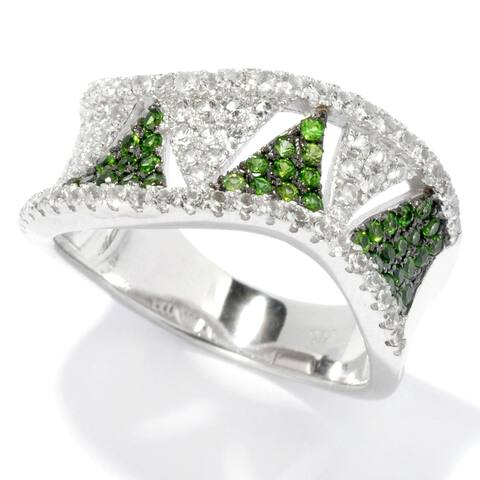 Sterling Silver 0.77Ctw Chrome Diopside Band Ring