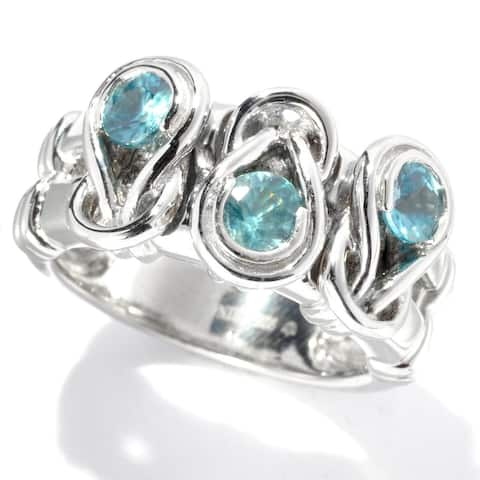 Sterling Silver 0.93Ctw Blue Zircon Band Ring