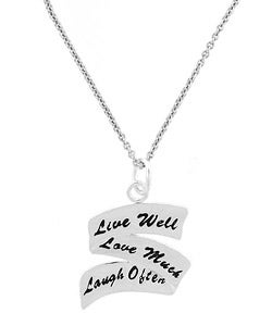Mondevio Sterling Silver Inspirational Ribbon Necklace