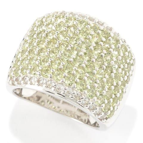 925 Sterling Silver Peridot,White Topaz Ring