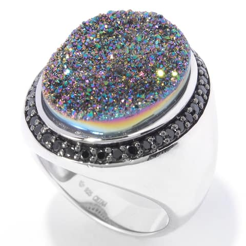Sterling Silver 19 X 15Mm Mystic Drusy & Black Spinel Ring Size - 6