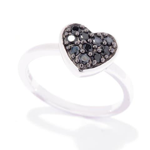 Pinctore 925 Sterling Silver Black Spinel Ring